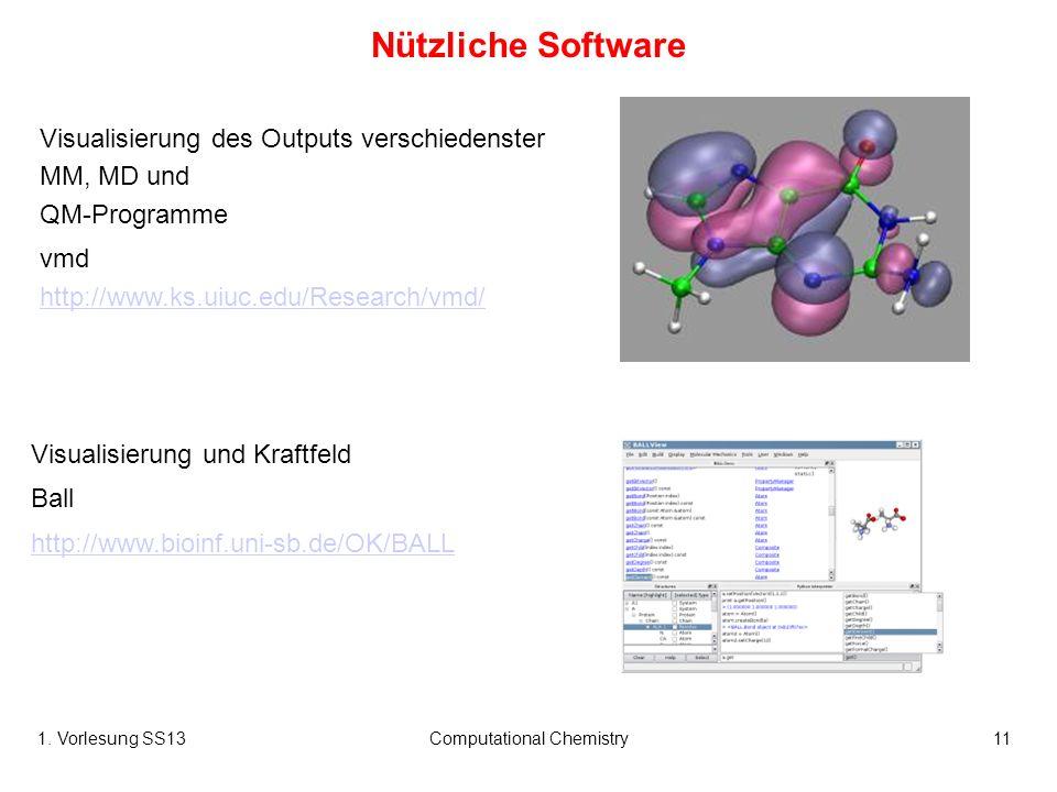1. Vorlesung SS13Computational Chemistry11 Visualisierung des Outputs verschiedenster MM, MD und QM-Programme vmd http://www.ks.uiuc.edu/Research/vmd/