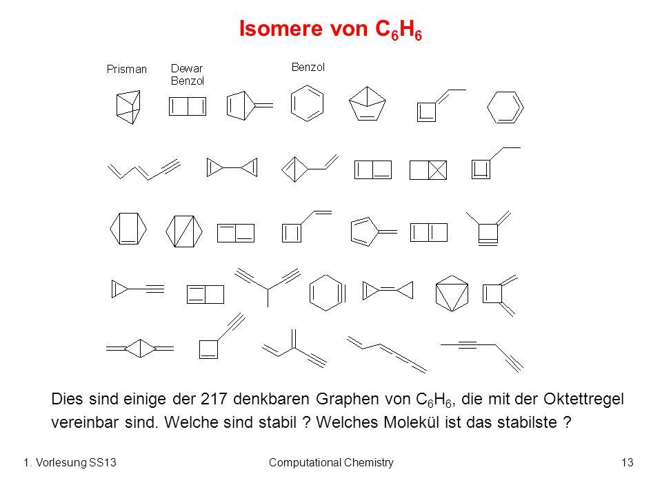 1. Vorlesung SS13Computational Chemistry13 Isomere von C 6 H 6 Dies sind einige der 217 denkbaren Graphen von C 6 H 6, die mit der Oktettregel vereinb