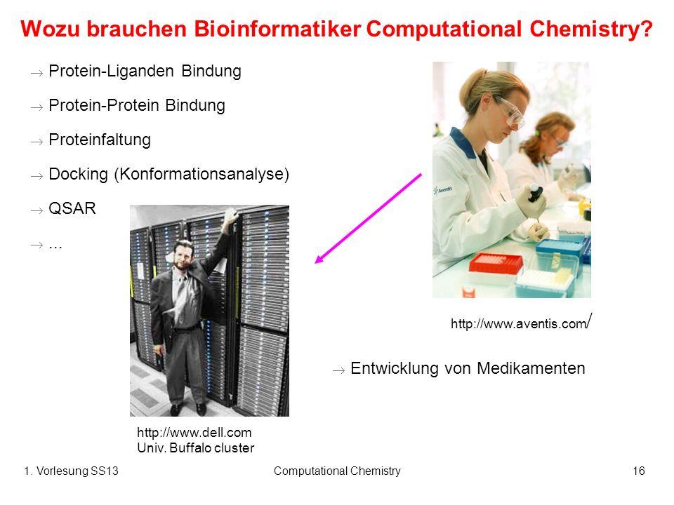1. Vorlesung SS13Computational Chemistry16 Wozu brauchen Bioinformatiker Computational Chemistry? Protein-Liganden Bindung Protein-Protein Bindung Pro