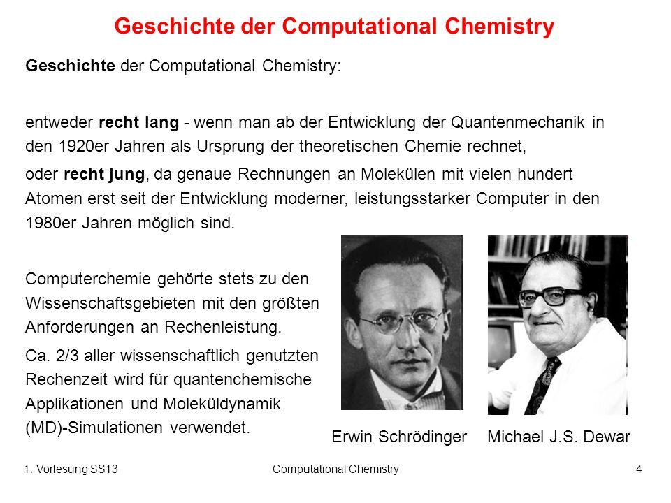 1. Vorlesung SS13Computational Chemistry4 Geschichte der Computational Chemistry Geschichte der Computational Chemistry: entweder recht lang - wenn ma