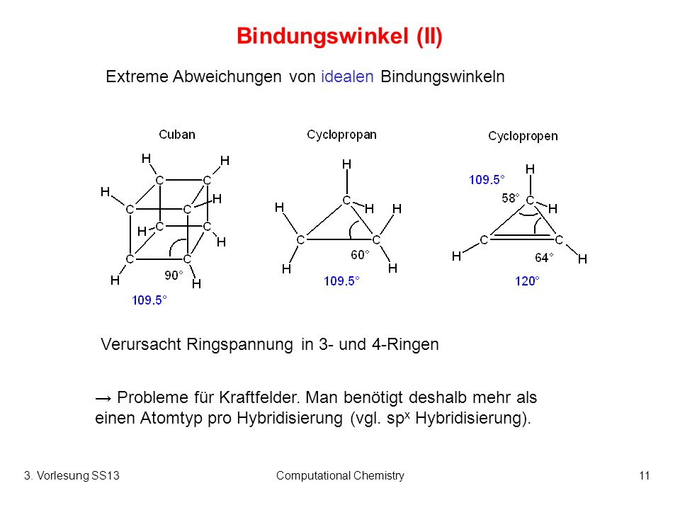 3. Vorlesung SS13Computational Chemistry11 Bindungswinkel (II) Probleme für Kraftfelder. Man benötigt deshalb mehr als einen Atomtyp pro Hybridisierun
