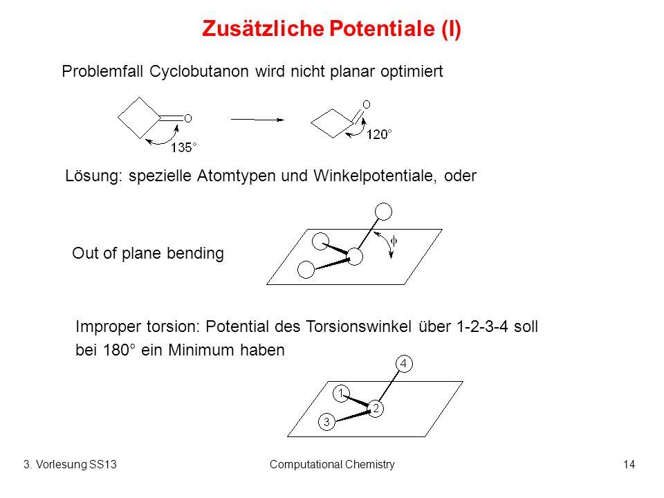 3. Vorlesung SS13Computational Chemistry14 Zusätzliche Potentiale (I) Problemfall Cyclobutanon wird nicht planar optimiert Out of plane bending Improp