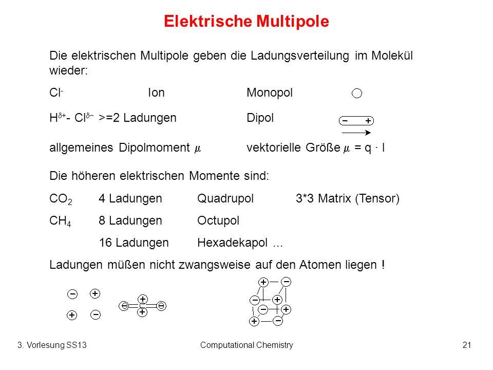 3. Vorlesung SS13Computational Chemistry21 Elektrische Multipole Die elektrischen Multipole geben die Ladungsverteilung im Molekül wieder: Cl - IonMon