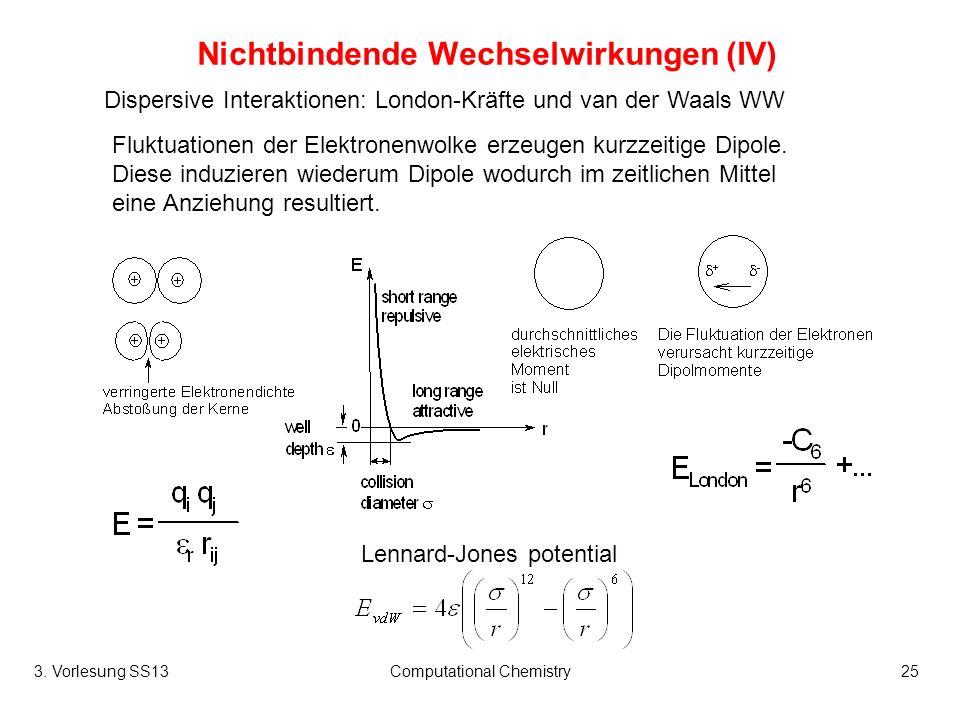 3. Vorlesung SS13Computational Chemistry25 Nichtbindende Wechselwirkungen (IV) Dispersive Interaktionen: London-Kräfte und van der Waals WW Lennard-Jo