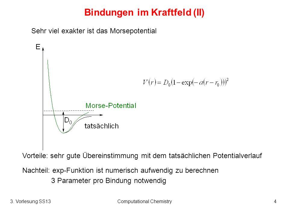 3. Vorlesung SS13Computational Chemistry4 Bindungen im Kraftfeld (II) Sehr viel exakter ist das Morsepotential Vorteile: sehr gute Übereinstimmung mit