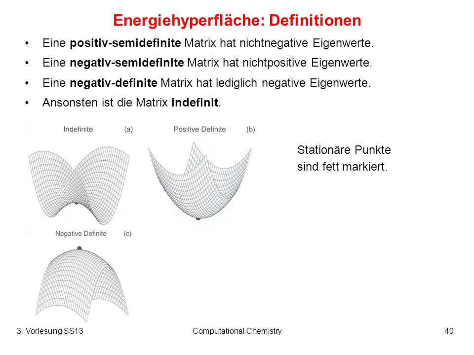 3. Vorlesung SS13Computational Chemistry40 Eine positiv-semidefinite Matrix hat nichtnegative Eigenwerte. Eine negativ-semidefinite Matrix hat nichtpo