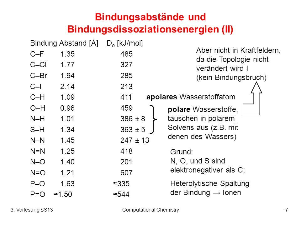 3. Vorlesung SS13Computational Chemistry7 Bindungsabstände und Bindungsdissoziationsenergien (II) Bindung Abstand [Å] D o [kJ/mol] C–F1.35485 C–Cl1.77