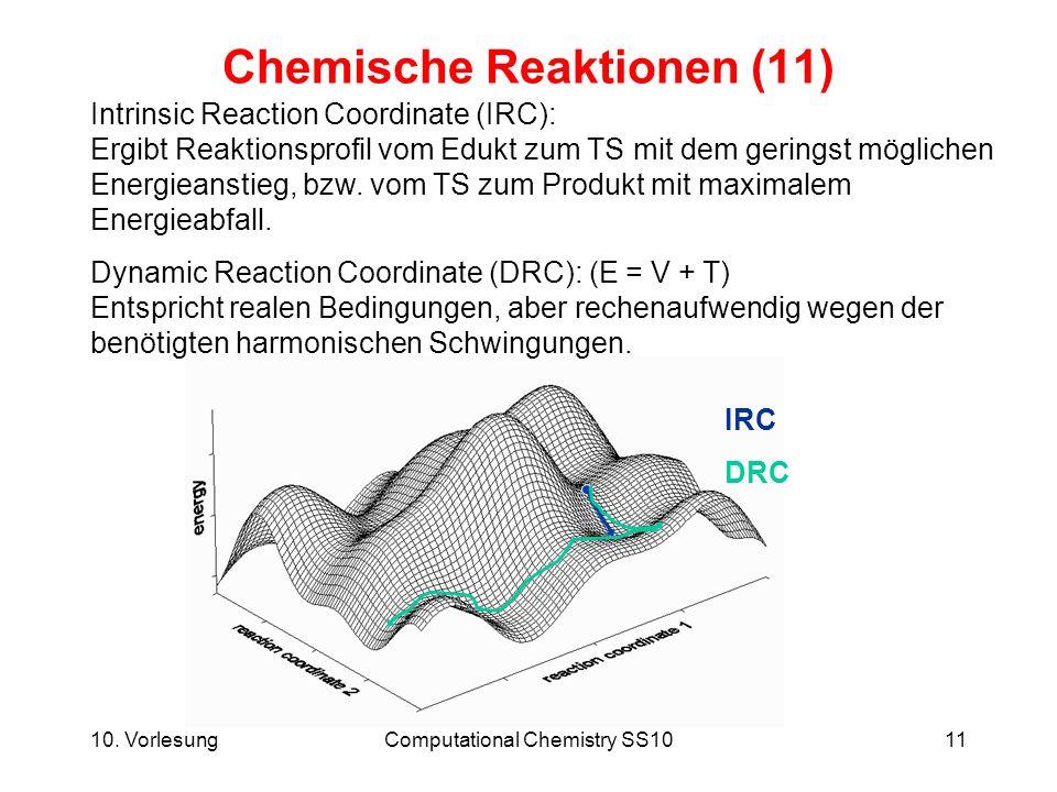 10. VorlesungComputational Chemistry SS1011 Chemische Reaktionen (11) Intrinsic Reaction Coordinate (IRC): Ergibt Reaktionsprofil vom Edukt zum TS mit
