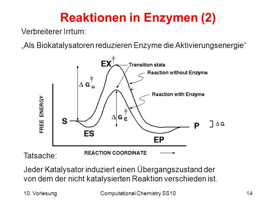 10. VorlesungComputational Chemistry SS1014 Reaktionen in Enzymen (2) Verbreiterer Irrtum: Als Biokatalysatoren reduzieren Enzyme die Aktivierungsener
