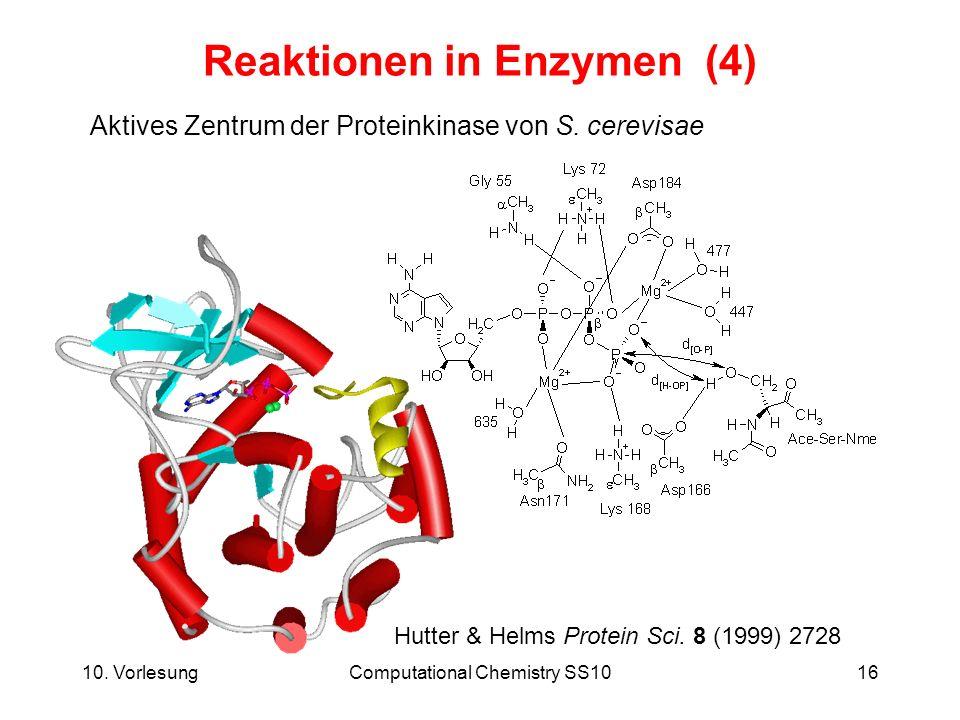 10. VorlesungComputational Chemistry SS1016 Reaktionen in Enzymen (4) Aktives Zentrum der Proteinkinase von S. cerevisae Hutter & Helms Protein Sci. 8