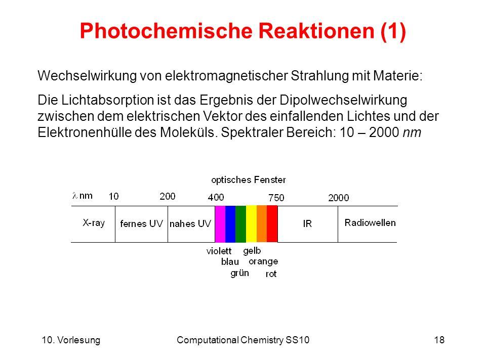 10. VorlesungComputational Chemistry SS1018 Photochemische Reaktionen (1) Wechselwirkung von elektromagnetischer Strahlung mit Materie: Die Lichtabsor