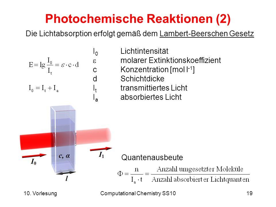 10. VorlesungComputational Chemistry SS1019 Photochemische Reaktionen (2) Die Lichtabsorption erfolgt gemäß dem Lambert-Beerschen Gesetz I 0 Lichtinte