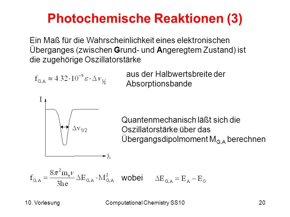 10. VorlesungComputational Chemistry SS1020 Photochemische Reaktionen (3) Ein Maß für die Wahrscheinlichkeit eines elektronischen Überganges (zwischen