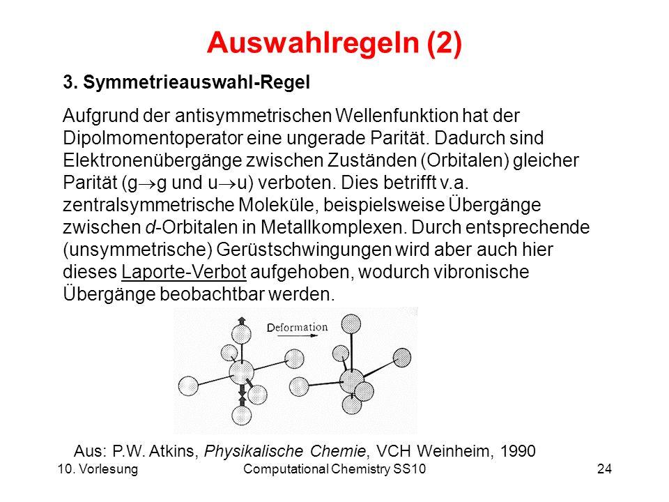 10. VorlesungComputational Chemistry SS1024 Auswahlregeln (2) 3. Symmetrieauswahl-Regel Aufgrund der antisymmetrischen Wellenfunktion hat der Dipolmom