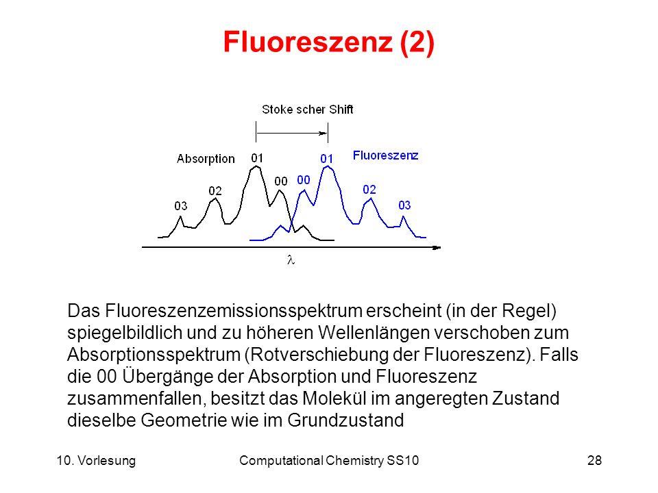 10. VorlesungComputational Chemistry SS1028 Fluoreszenz (2) Das Fluoreszenzemissionsspektrum erscheint (in der Regel) spiegelbildlich und zu höheren W