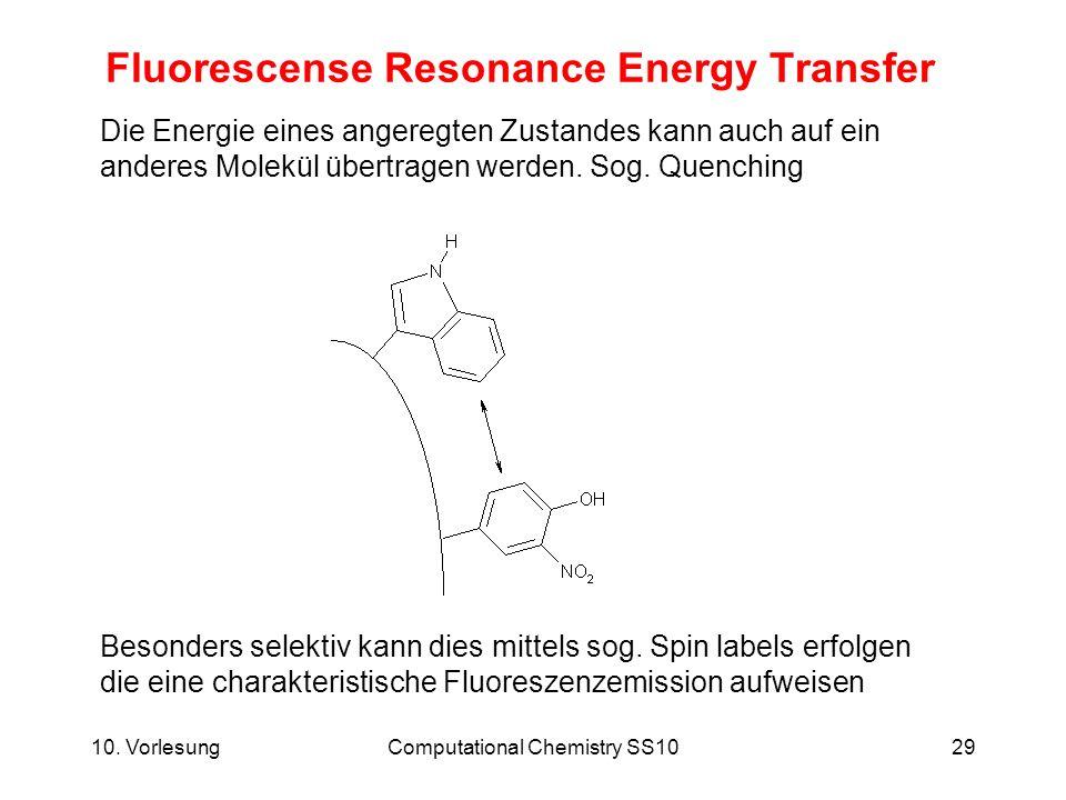 10. VorlesungComputational Chemistry SS1029 Fluorescense Resonance Energy Transfer Die Energie eines angeregten Zustandes kann auch auf ein anderes Mo