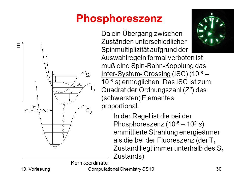 10. VorlesungComputational Chemistry SS1030 Phosphoreszenz In der Regel ist die bei der Phosphoreszenz (10 -5 – 10 2 s) emmittierte Strahlung energieä