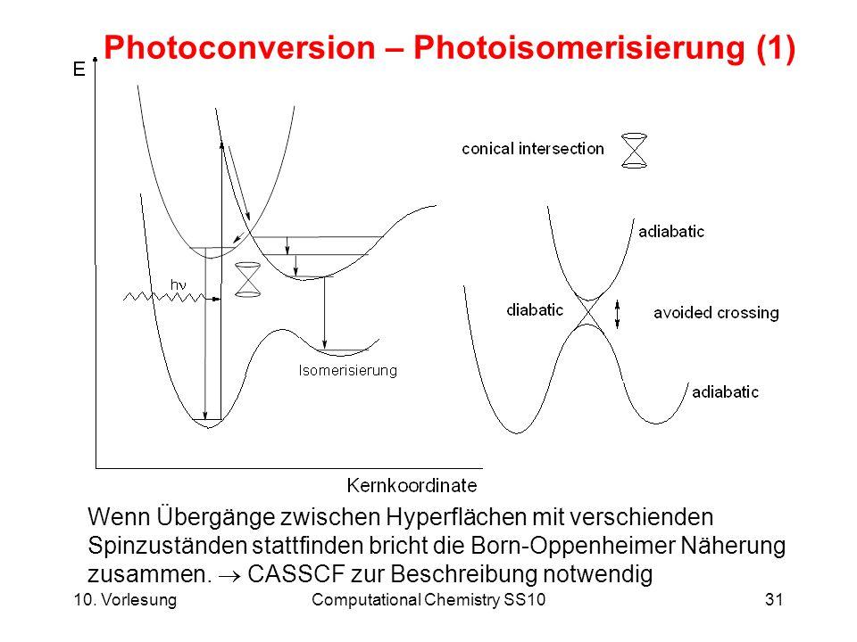 10. VorlesungComputational Chemistry SS1031 Photoconversion – Photoisomerisierung (1) Wenn Übergänge zwischen Hyperflächen mit verschienden Spinzustän