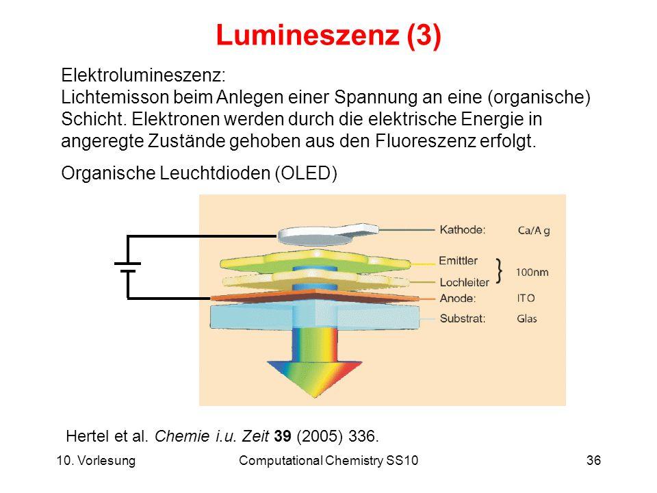10. VorlesungComputational Chemistry SS1036 Lumineszenz (3) Elektrolumineszenz: Lichtemisson beim Anlegen einer Spannung an eine (organische) Schicht.