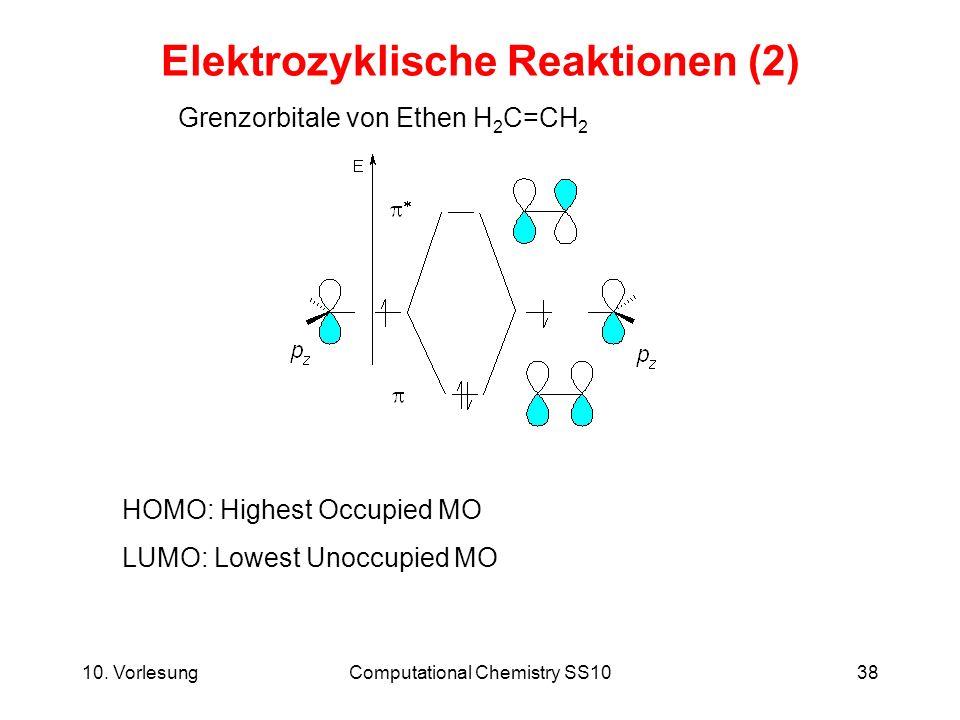 10. VorlesungComputational Chemistry SS1038 Elektrozyklische Reaktionen (2) HOMO: Highest Occupied MO LUMO: Lowest Unoccupied MO Grenzorbitale von Eth