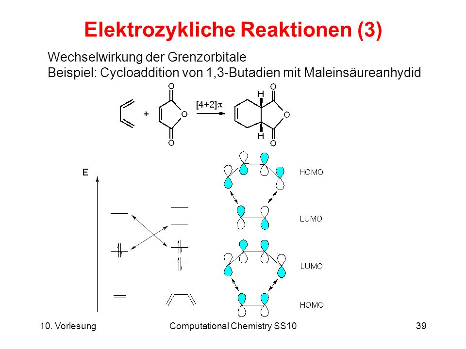 10. VorlesungComputational Chemistry SS1039 Elektrozykliche Reaktionen (3) Wechselwirkung der Grenzorbitale Beispiel: Cycloaddition von 1,3-Butadien m