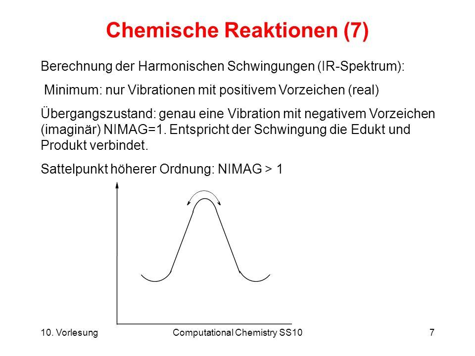 10. VorlesungComputational Chemistry SS107 Chemische Reaktionen (7) Berechnung der Harmonischen Schwingungen (IR-Spektrum): Minimum: nur Vibrationen m
