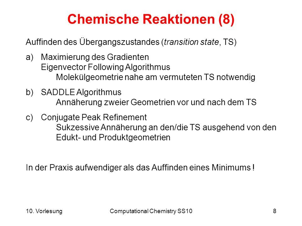 10. VorlesungComputational Chemistry SS108 Chemische Reaktionen (8) Auffinden des Übergangszustandes (transition state, TS) a)Maximierung des Gradient