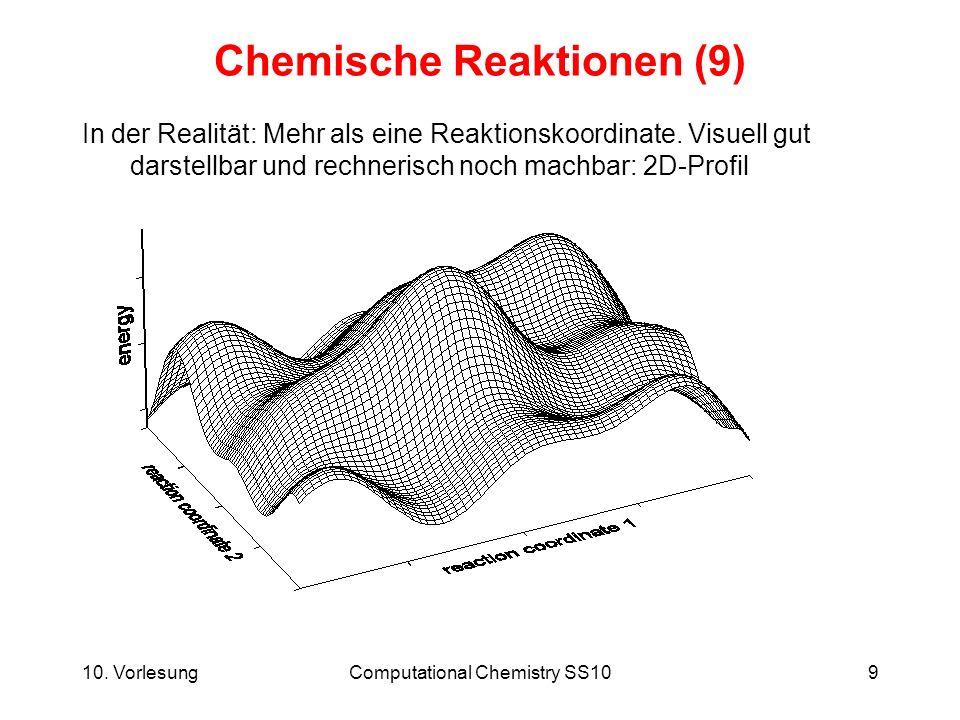 10. VorlesungComputational Chemistry SS109 Chemische Reaktionen (9) In der Realität: Mehr als eine Reaktionskoordinate. Visuell gut darstellbar und re