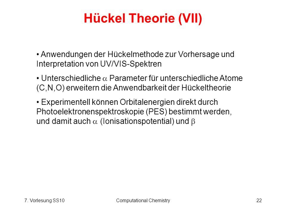 7. Vorlesung SS10Computational Chemistry22 Hückel Theorie (VII) Anwendungen der Hückelmethode zur Vorhersage und Interpretation von UV/VIS-Spektren Un