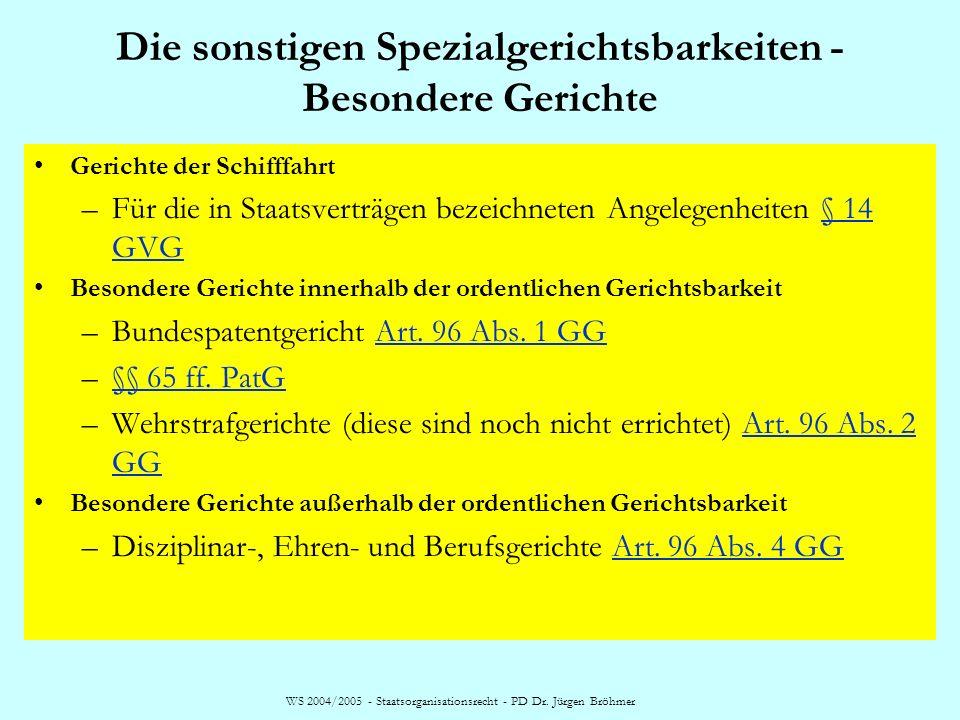 WS 2004/2005 - Staatsorganisationsrecht - PD Dr. Jürgen Bröhmer Die sonstigen Spezialgerichtsbarkeiten - Besondere Gerichte Gerichte der Schifffahrt –