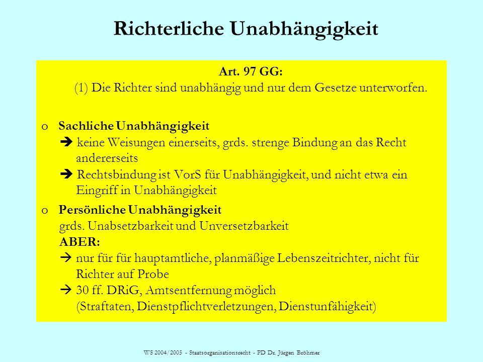 WS 2004/2005 - Staatsorganisationsrecht - PD Dr. Jürgen Bröhmer Richterliche Unabhängigkeit Art. 97 GG: (1) Die Richter sind unabhängig und nur dem Ge