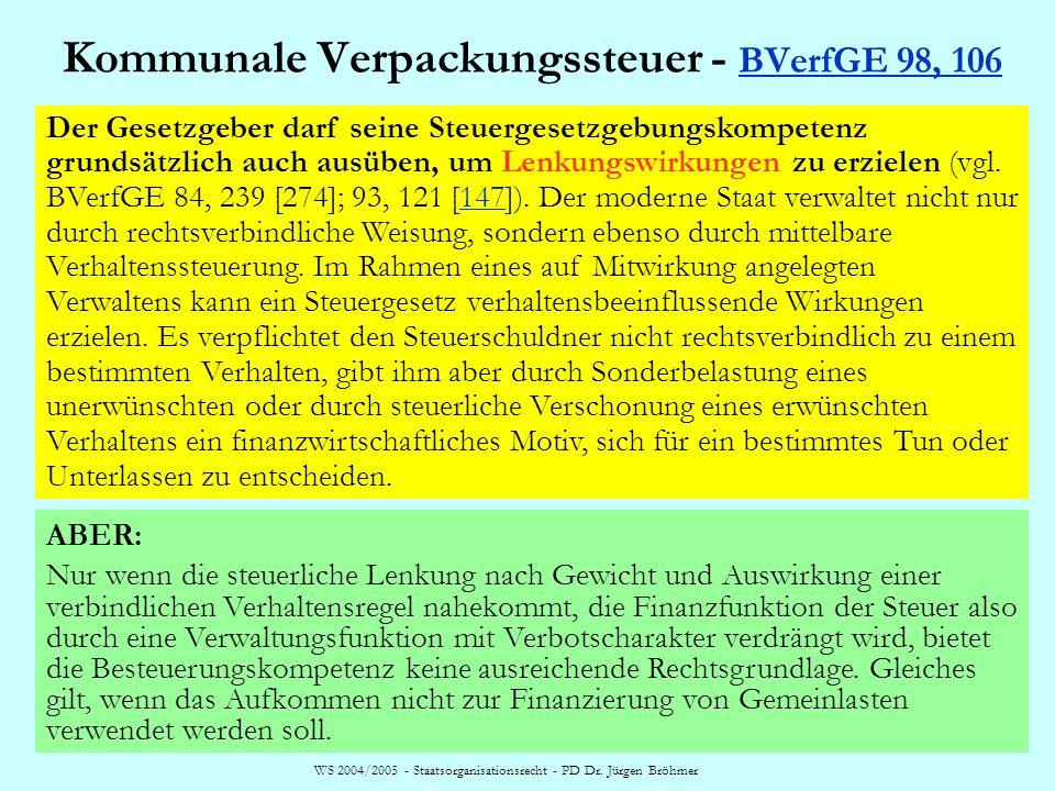 WS 2004/2005 - Staatsorganisationsrecht - PD Dr. Jürgen Bröhmer Kommunale Verpackungssteuer - BVerfGE 98, 106 BVerfGE 98, 106 Der Gesetzgeber darf sei