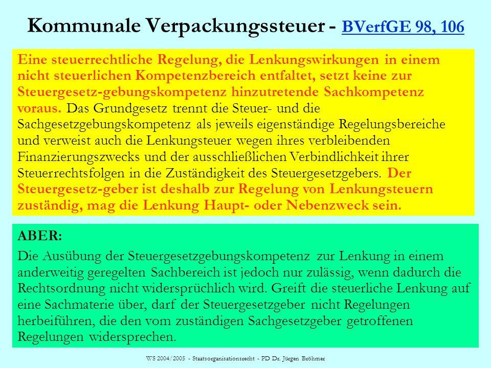 WS 2004/2005 - Staatsorganisationsrecht - PD Dr. Jürgen Bröhmer Kommunale Verpackungssteuer - BVerfGE 98, 106 BVerfGE 98, 106 Eine steuerrechtliche Re