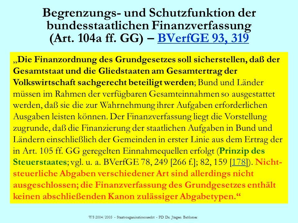 WS 2004/2005 - Staatsorganisationsrecht - PD Dr. Jürgen Bröhmer Begrenzungs- und Schutzfunktion der bundesstaatlichen Finanzverfassung (Art. 104a ff.