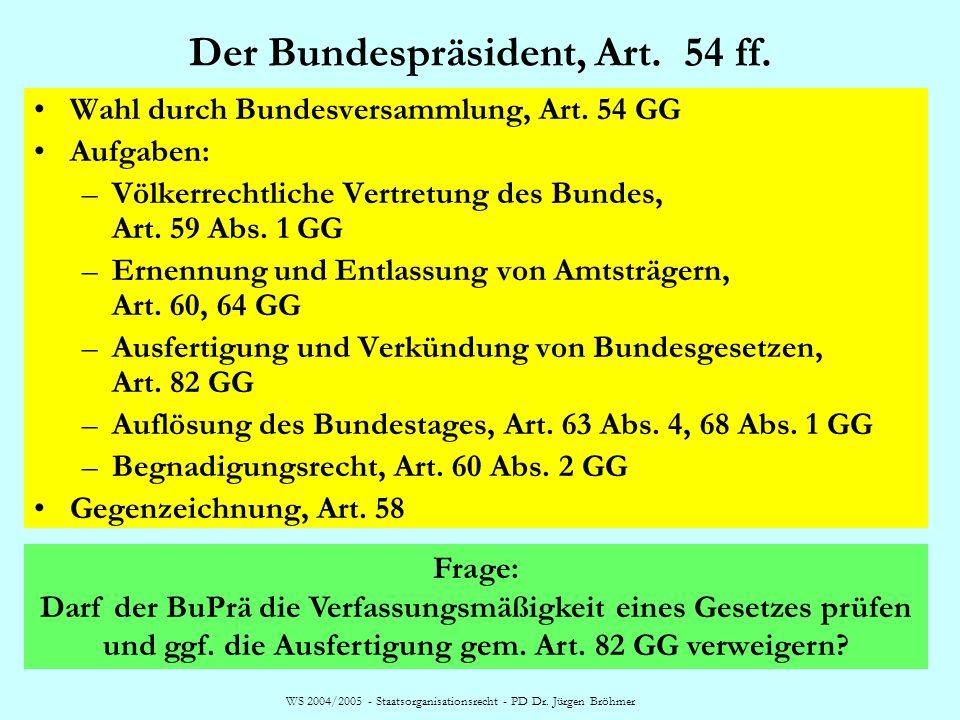 WS 2004/2005 - Staatsorganisationsrecht - PD Dr. Jürgen Bröhmer Der Bundespräsident, Art. 54 ff. Wahl durch Bundesversammlung, Art. 54 GG Aufgaben: –V