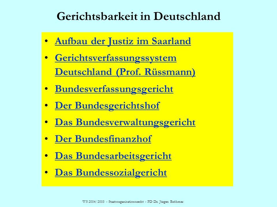 WS 2004/2005 - Staatsorganisationsrecht - PD Dr. Jürgen Bröhmer Gerichtsbarkeit in Deutschland Aufbau der Justiz im Saarland Gerichtsverfassungssystem