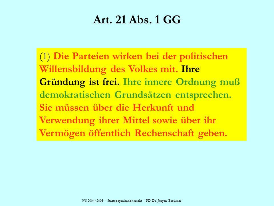 WS 2004/2005 - Staatsorganisationsrecht - PD Dr. Jürgen Bröhmer Art. 21 Abs. 1 GG (1) Die Parteien wirken bei der politischen Willensbildung des Volke