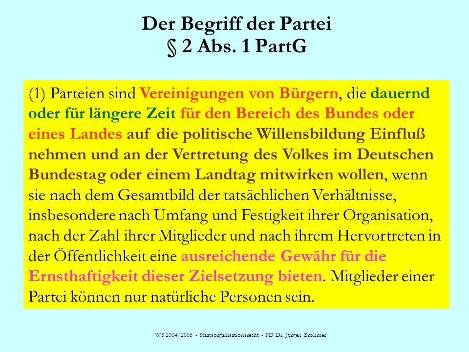 Der Begriff der Partei § 2 Abs. 1 PartG (1) Parteien sind Vereinigungen von Bürgern, die dauernd oder für längere Zeit für den Bereich des Bundes oder