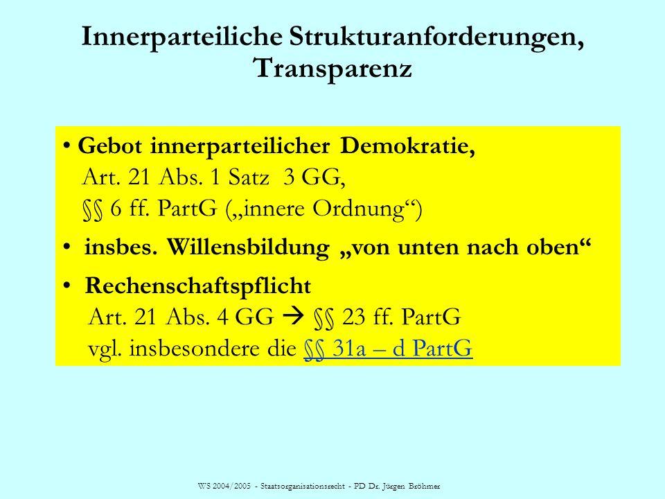 Innerparteiliche Strukturanforderungen, Transparenz WS 2004/2005 - Staatsorganisationsrecht - PD Dr. Jürgen Bröhmer Gebot innerparteilicher Demokratie