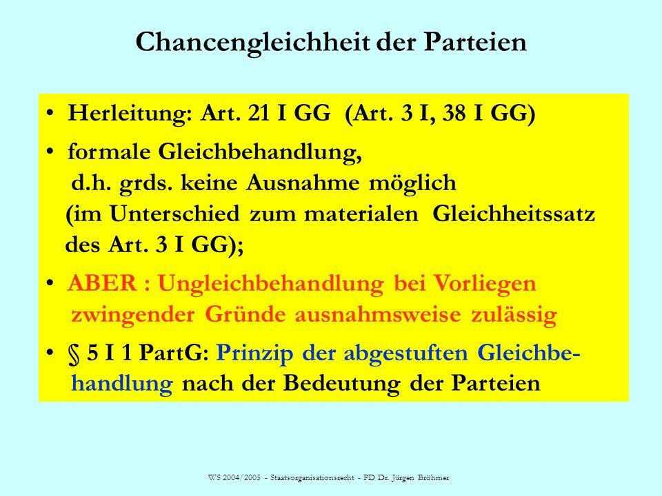Chancengleichheit der Parteien WS 2004/2005 - Staatsorganisationsrecht - PD Dr. Jürgen Bröhmer Herleitung: Art. 21 I GG (Art. 3 I, 38 I GG) formale Gl