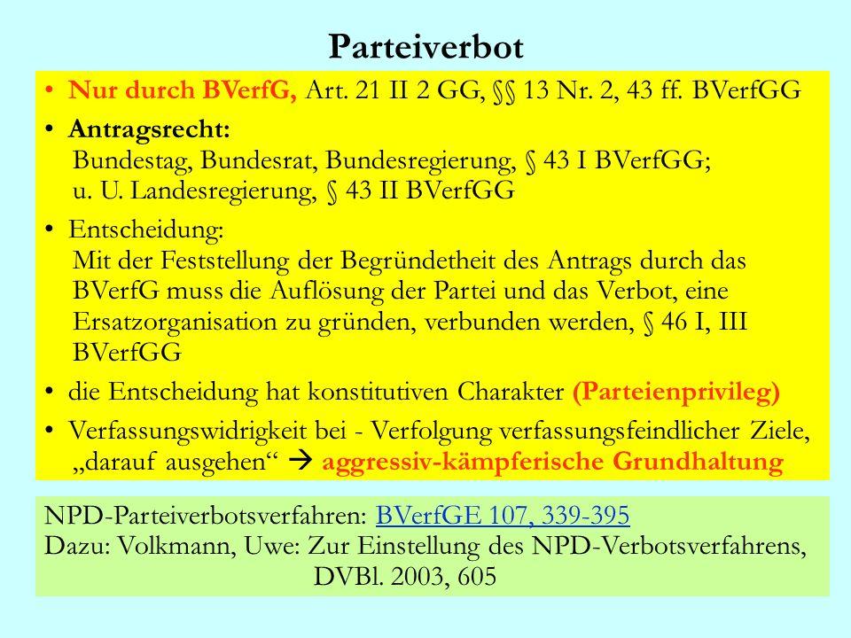 Parteiverbot Nur durch BVerfG, Art. 21 II 2 GG, §§ 13 Nr. 2, 43 ff. BVerfGG Antragsrecht: Bundestag, Bundesrat, Bundesregierung, § 43 I BVerfGG; u. U.