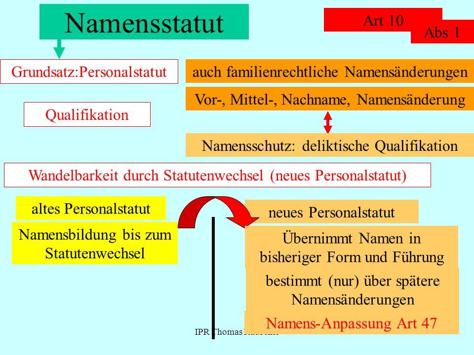 IPR Thomas Rauscher Namensstatut Art 10 Grundsatz:Personalstatut Abs 1 auch familienrechtliche Namensänderungen Qualifikation Vor-, Mittel-, Nachname,