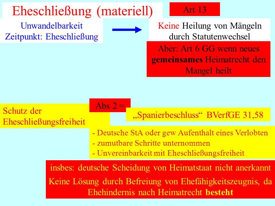 IPR Thomas Rauscher Eheschließung (materiell) Art 13 Unwandelbarkeit Zeitpunkt: Eheschließung Keine Heilung von Mängeln durch Statutenwechsel Aber: Ar