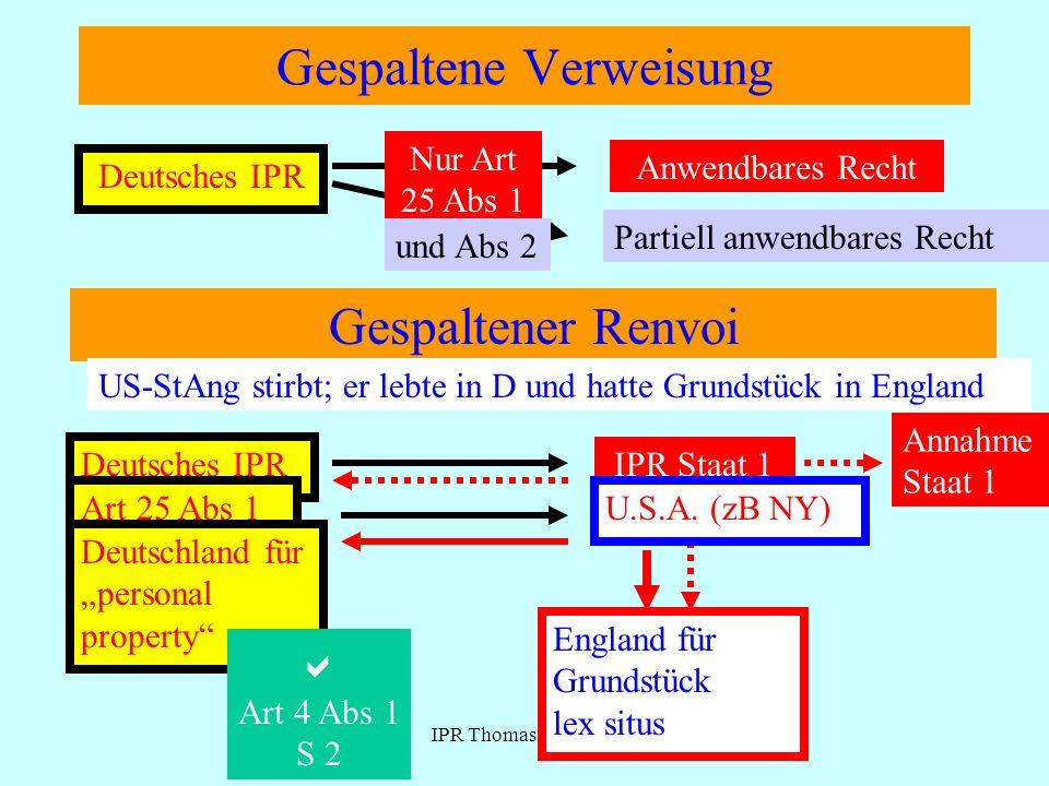 IPR Thomas Rauscher Gespaltene Verweisung Deutsches IPR Anwendbares Recht Partiell anwendbares Recht Nur Art 25 Abs 1 und Abs 2 Gespaltener Renvoi Deu