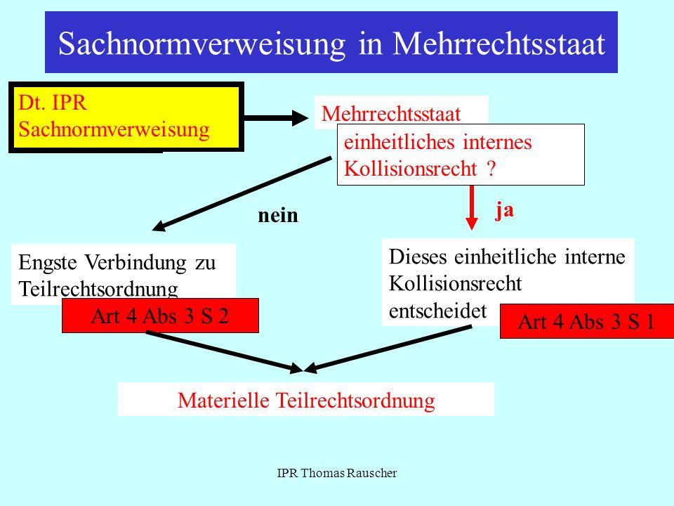 IPR Thomas Rauscher Sachnormverweisung in Mehrrechtsstaat Dt. IPR Sachnormverweisung Mehrrechtsstaat einheitliches internes Kollisionsrecht ? IPR spie