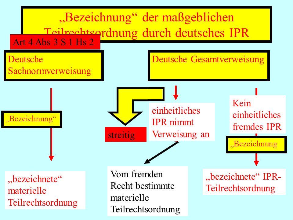 IPR Thomas Rauscher Bezeichnung der maßgeblichen Teilrechtsordnung durch deutsches IPR Art 4 Abs 3 S 1 Hs 2 Deutsche Sachnormverweisung Bezeichnung be