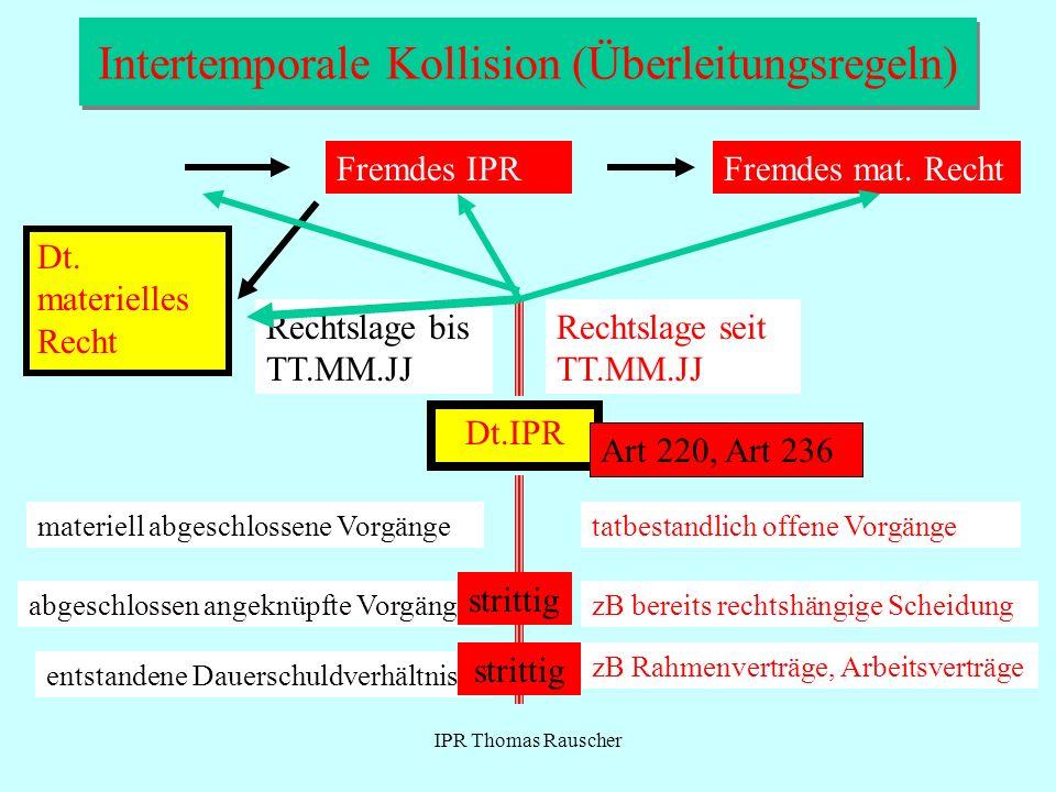 IPR Thomas Rauscher Intertemporale Kollision (Überleitungsregeln) Dt.IPR Fremdes IPRFremdes mat. Recht Dt. materielles Recht Rechtslage bis TT.MM.JJ R