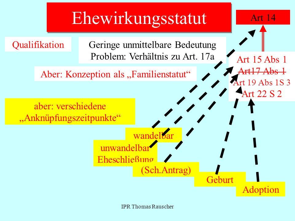 IPR Thomas Rauscher Ehewirkungsstatut Art 14 QualifikationGeringe unmittelbare Bedeutung Problem: Verhältnis zu Art. 17a Aber: Konzeption als Familien
