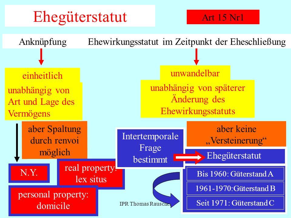 IPR Thomas Rauscher Ehegüterstatut Art 15 Nr1 AnknüpfungEhewirkungsstatut im Zeitpunkt der Eheschließung einheitlich unabhängig von Art und Lage des V