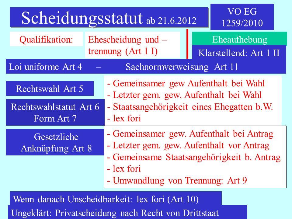IPR Thomas Rauscher Scheidungsstatut ab 21.6.2012 VO EG 1259/2010 Qualifikation:Ehescheidung und – trennung (Art 1 I) Eheaufhebung Rechtswahl Art 5 -